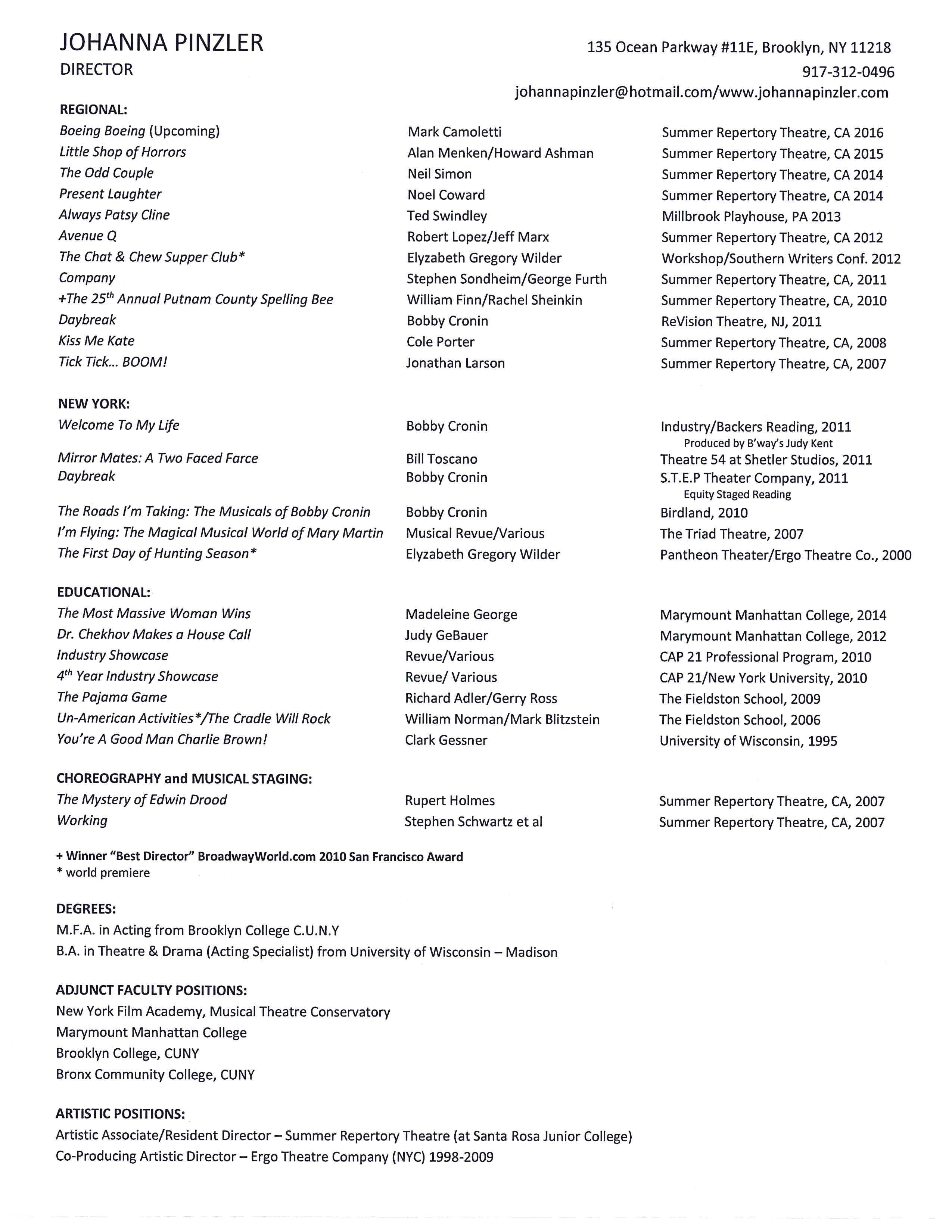 resume for artistic director cipanewsletter resume johanna pinzler
